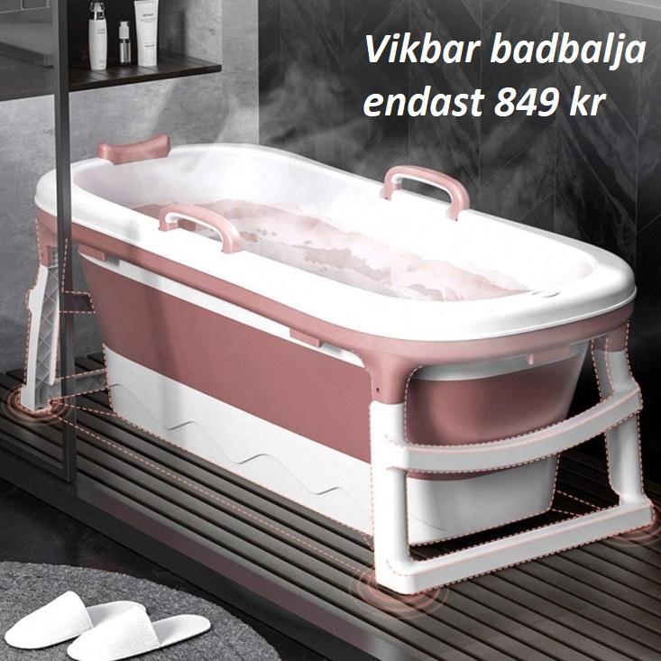 Vikbar badbalja i rosa och vitt